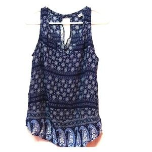 Blue paisley flower print sleeveless shirt